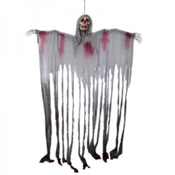 halloween hanging door curtain. sekeleton with red lights in the eyes and spooky laugh