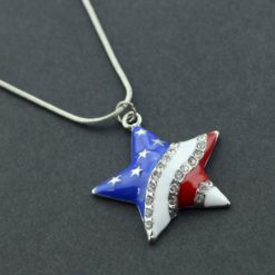 Silver necklace with a star shape pendant decorated with crystals and the American flag colors.