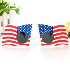 4th of July sunglasses decorated with American flags.
