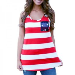 American flag woman shirt. Red and white stripes in the front and star pattern over a blue background on the back.
