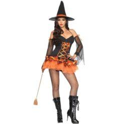 Witch corset costume. Black and orange sexy dress.