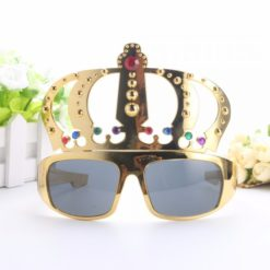 sunglasses with a gold crown shaped