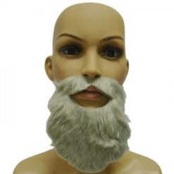 Long white beard with mustache in a nordic style