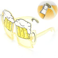 Glasses with beer mug shape. The glasses also work as a opener.