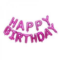 Happy birthday ballon with separated letters. Available in blue, pink, silver and golden.
