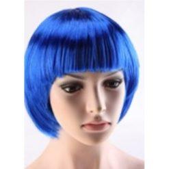 short blue hair wig in a modern style.