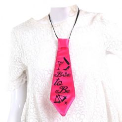 Bride to be pink tie over a white shirt.