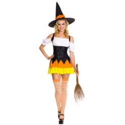 Sexy witch dress halloween costume. Short dress in black, white with orange and yellow details.