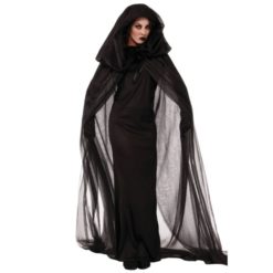 Mysterious witch costume. Black long dress with a cape.