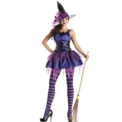 Purple witch dress with a hat and hat laces