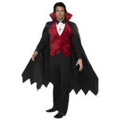 Count Dracula costume. vampire style in black, red and white.