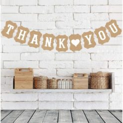 Thaksgiving letter banner. The words thank and you are separated by a heart