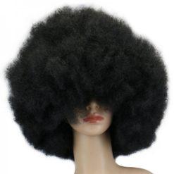 short voluminous afro black wig