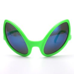 Big alien glasses with green frame and polirized lens
