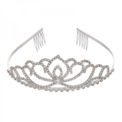 Bride silver tiara on crown shape studded with crystals