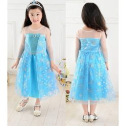 Frozen Elsa costume. Blue dress with snowflakes pattern.