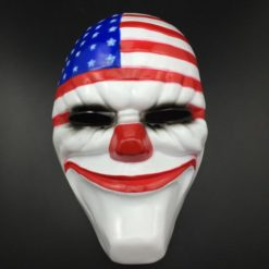 Dallas payday clown mask with the american flag covering the forehead and the usual clown red nose.