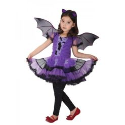 little batgirl purple dress with black details and wings