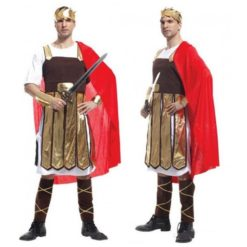 Roman warrior outfit with red cloack and golden details.