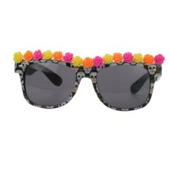 Sunglass decorated with flowers and sugar skulls printed on the frame