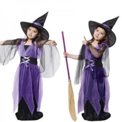 little witch girl costume. Black and purple dress to enjoy Halloween