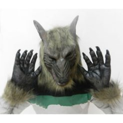 Wolf mask and gloves made of latex and fur details