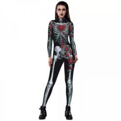 Skeleton and roses romantic halloween jumpsuit costume