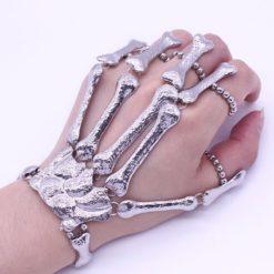 Metal skeleton bones bracelet. Covers the hand.