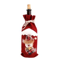 Red christmas bottle cover with a snowman