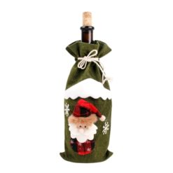 Green christmas bottle cover with Santa Claus