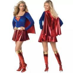 Supergirl adult costume. The dress has the superman logo over the chest and a sparkling red skirt and cape.