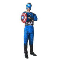 Captain america blue jumpsuit costume. It includes the mask and the shield.