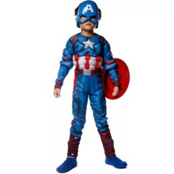 Captain America costume for kids. The jumpsuit costume includes the mask and the shield.