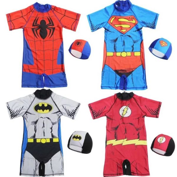 Kids swimsuit costume available in spider-man, superman, batman and flash patterns