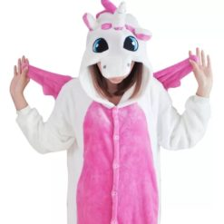 Pink and white unicorn pajama costume