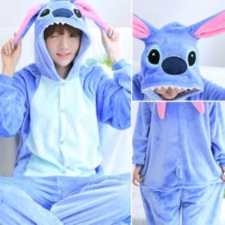 Blue Stitch pajama costume with pink long ears
