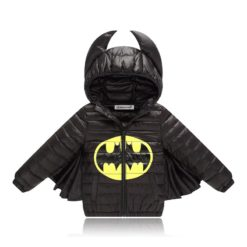 Child black polyester coat with a hood and Batman logo.