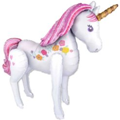 White unicorn balloon with bright pink tail and horsehair. The unicorn has some flowers around its body and a horn.