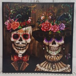 Grim and cute mexican skull couple painting