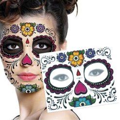 Sugar mexican skull temporary tattoo